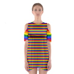 Horizontal Gay Pride Rainbow Flag Pin Stripes Shoulder Cutout One Piece