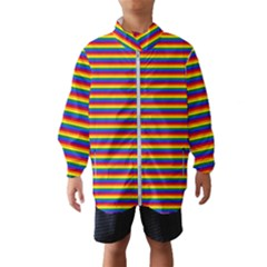 Horizontal Gay Pride Rainbow Flag Pin Stripes Wind Breaker (kids)