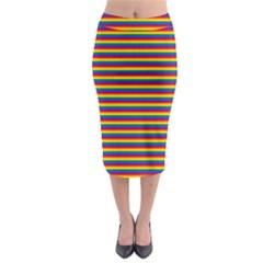 Horizontal Gay Pride Rainbow Flag Pin Stripes Midi Pencil Skirt