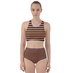 Horizontal Gay Pride Rainbow Flag Pin Stripes Racer Back Bikini Set
