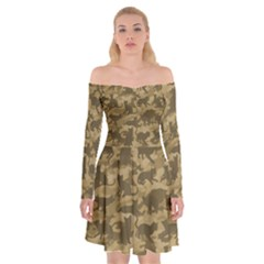 Operation Desert Cat Camouflage Catmouflage Off Shoulder Skater Dress