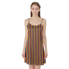 Vertical Gay Pride Rainbow Flag Pin Stripes Satin Night Slip