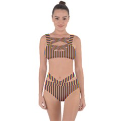 Vertical Gay Pride Rainbow Flag Pin Stripes Bandaged Up Bikini Set
