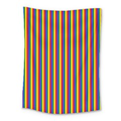 Vertical Gay Pride Rainbow Flag Pin Stripes Medium Tapestry