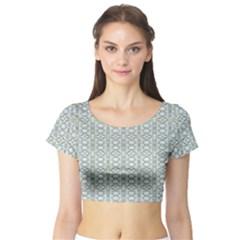 Vintage Ornate Pattern Short Sleeve Crop Top
