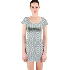 Vintage Ornate Pattern Short Sleeve Bodycon Dress