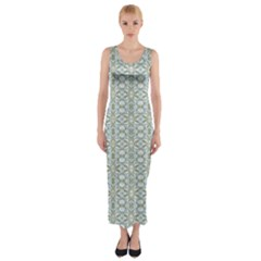 Vintage Ornate Pattern Fitted Maxi Dress