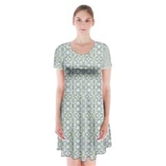Vintage Ornate Pattern Short Sleeve V Neck Flare Dress