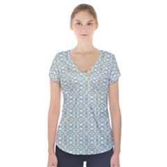 Vintage Ornate Pattern Short Sleeve Front Detail Top