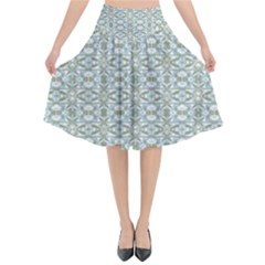 Vintage Ornate Pattern Flared Midi Skirt