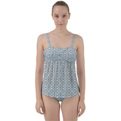 Vintage Ornate Pattern Twist Front Tankini Set