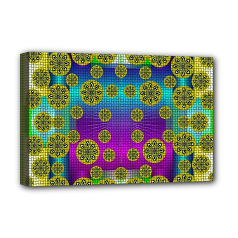 Celtic Mosaic With Wonderful Flowers Deluxe Canvas 18  X 12