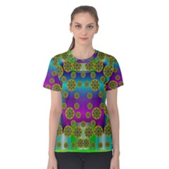 Celtic Mosaic With Wonderful Flowers Women s Cotton Tee