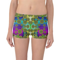 Celtic Mosaic With Wonderful Flowers Boyleg Bikini Bottoms