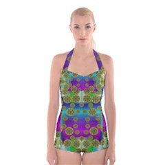 Celtic Mosaic With Wonderful Flowers Boyleg Halter Swimsuit