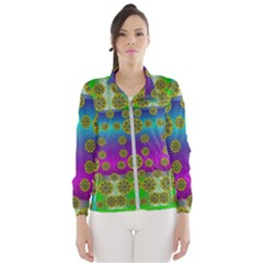 Celtic Mosaic With Wonderful Flowers Wind Breaker (women)