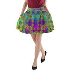 Celtic Mosaic With Wonderful Flowers A Line Pocket Skirt