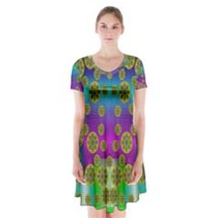 Celtic Mosaic With Wonderful Flowers Short Sleeve V Neck Flare Dress