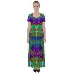 Celtic Mosaic With Wonderful Flowers High Waist Short Sleeve Maxi Dress