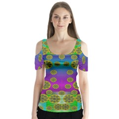 Celtic Mosaic With Wonderful Flowers Butterfly Sleeve Cutout Tee