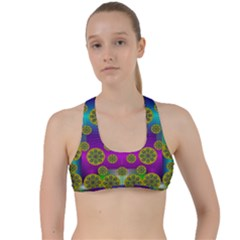 Celtic Mosaic With Wonderful Flowers Criss Cross Racerback Sports Bra