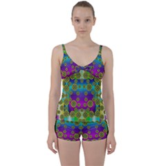 Celtic Mosaic With Wonderful Flowers Tie Front Two Piece Tankini