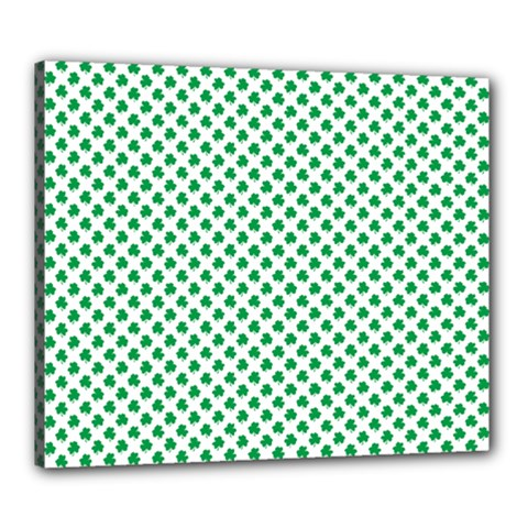 Green Shamrock Clover On White St  Patrick s Day Canvas 24  X 20
