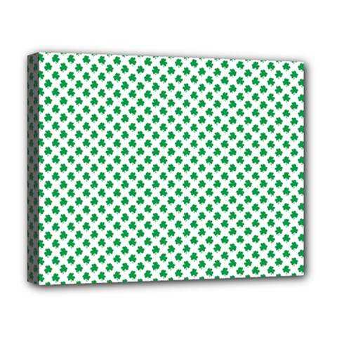 Green Shamrock Clover On White St  Patrick s Day Deluxe Canvas 20  X 16