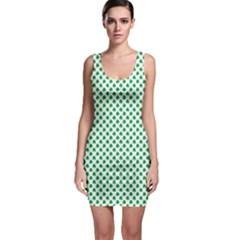 Green Shamrock Clover On White St  Patrick s Day Bodycon Dress