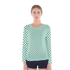 Green Shamrock Clover On White St  Patrick s Day Women s Long Sleeve Tee