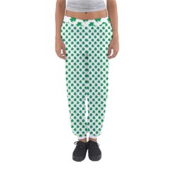 Green Shamrock Clover On White St  Patrick s Day Women s Jogger Sweatpants