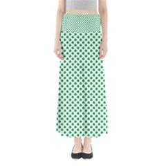 Green Shamrock Clover On White St  Patrick s Day Full Length Maxi Skirt