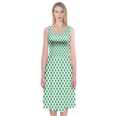 Green Shamrock Clover On White St  Patrick s Day Midi Sleeveless Dress