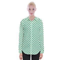 Green Shamrock Clover On White St  Patrick s Day Womens Long Sleeve Shirt