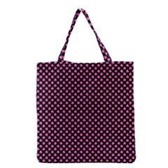 Small Hot Pink Irish Shamrock Clover On Black Grocery Tote Bag