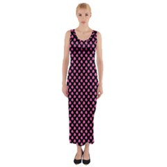 Small Hot Pink Irish Shamrock Clover On Black Fitted Maxi Dress