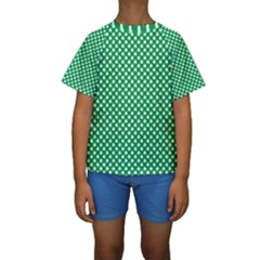 White Shamrocks On Green St  Patrick s Day Ireland Kids  Short Sleeve Swimwear