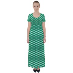 White Shamrocks On Green St  Patrick s Day Ireland High Waist Short Sleeve Maxi Dress
