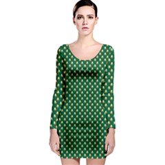 Irish Flag Green White Orange On Green St  Patrick s Day Ireland Long Sleeve Bodycon Dress