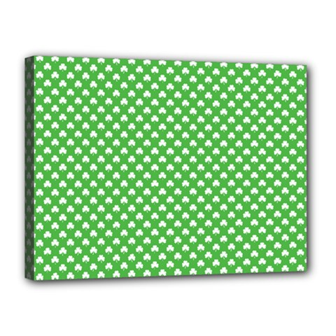 White Heart Shaped Clover On Green St  Patrick s Day Canvas 16  X 12