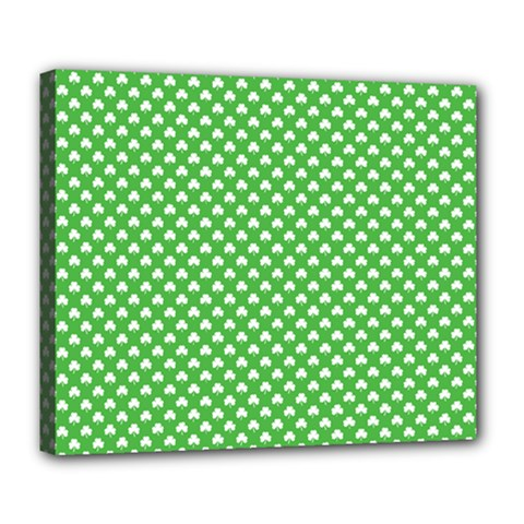 White Heart Shaped Clover On Green St  Patrick s Day Deluxe Canvas 24  X 20