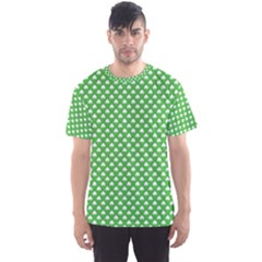 White Heart Shaped Clover On Green St  Patrick s Day Men s Sports Mesh Tee