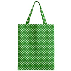 White Heart Shaped Clover On Green St  Patrick s Day Classic Tote Bag