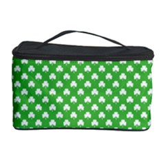 White Heart Shaped Clover On Green St  Patrick s Day Cosmetic Storage Case