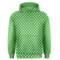 White Heart Shaped Clover On Green St  Patrick s Day Men s Pullover Hoodie