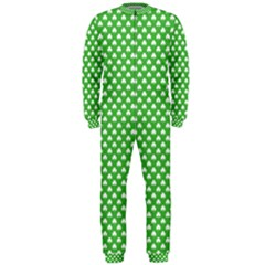 White Heart Shaped Clover On Green St  Patrick s Day Onepiece Jumpsuit (men)