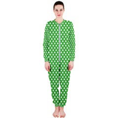 White Heart Shaped Clover On Green St  Patrick s Day Onepiece Jumpsuit (ladies)