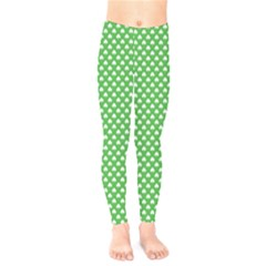 White Heart Shaped Clover On Green St  Patrick s Day Kids  Legging