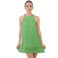 White Heart Shaped Clover On Green St  Patrick s Day Halter Tie Back Chiffon Dress