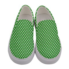 White Heart Shaped Clover On Green St  Patrick s Day Women s Canvas Slip Ons